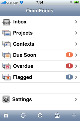 OmniFocus for iPhone home screen