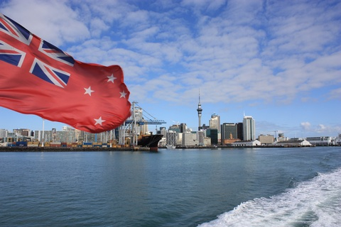 Auckland Harbpr leaved behind form the ferry